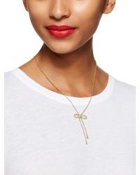 kate spade new york | Metallic Dainty Sparklers Bow Y Necklace | Lyst