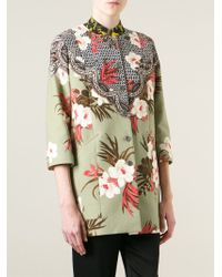 Etro Green Floral-patchwork Topper Coat