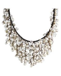 Aeravida | Brown Handmade Trendy Natural Pearls Waterfall Bib Necklace | Lyst