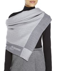Jil Sander Navy - Gray Square Wool-Blend Scarf - Lyst
