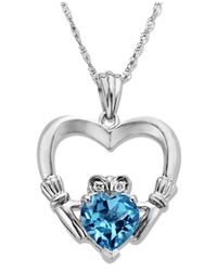 Macy's | Metallic Sterling Silver Necklace, Blue Topaz (1-5/8 Ct. T.w.) And Diamond Accent Claddagh Pendant | Lyst