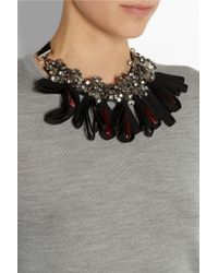 Marni | Black Gold-tone, Horn And Crystal Necklace | Lyst