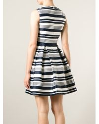 RED Valentino - Blue Striped Pleated Dress - Lyst