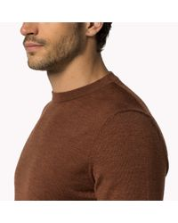 Tommy Hilfiger | Brown Wool Crew Neck Sweater for Men | Lyst