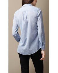 Burberry | Blue Bib Detail Cotton Tunic | Lyst