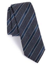 BOSS - Blue Stripe Silk & Wool Tie for Men - Lyst