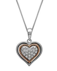 Lord & Taylor | Metallic Sterling Silver And 14kt. Rose Gold Diamond Heart Pendant Necklace | Lyst