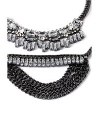 Forever 21 | Metallic Stackable Rhinestone Embellished Necklace | Lyst