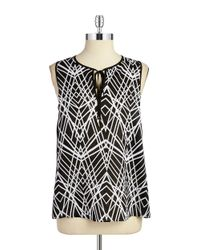 Calvin Klein | Black Patterned Keyhole Top | Lyst