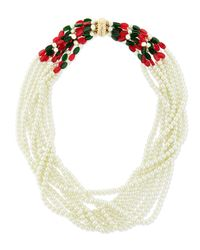 Kenneth Jay Lane | White Multi-strand Bib Necklace | Lyst