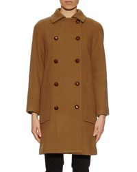 A.P.C. Brown Double-breasted Wool-blend Coat