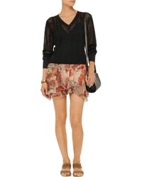 Isabel Marant Black Smocked Metallic Open-Knit Top