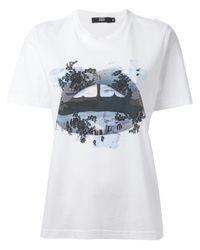 Markus Lupfer - White Lace Graffiti Lips Tshirt - Lyst