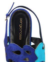 Sergio Rossi - Blue Cut-Out Suede Flatform Sandals - Lyst