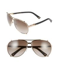 Dior | Metallic 'chicago 2 Strass' 63mm Aviator Sunglasses | Lyst