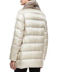 Moncler - Natural Argy Fur-trim Puffer Coat - Lyst