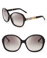 Burberry - Black London Check Round Oversized Sunglasses - Lyst