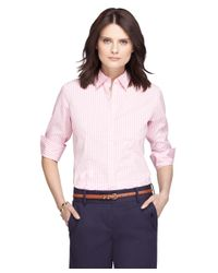 Brooks Brothers | Pink Non-iron Three-quarter Sleeve Gingham Dress Shirt | Lyst