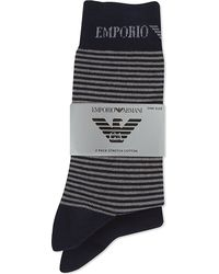 Emporio Armani | Blue Plain And Striped Socks 2-pack for Men | Lyst