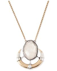 Lucky Brand Metallic Stone And Horn Pendant Necklace