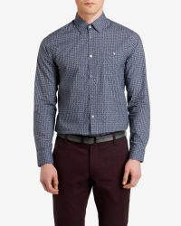 Ted Baker | Blue Trammo Tile Print Cotton Shirt for Men | Lyst