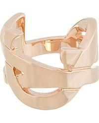 Saint Laurent | Metallic Rose Gold Ysl Monogram Ring | Lyst