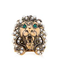 Gucci Green Crystal And Pearl-Embellished Lion Ring
