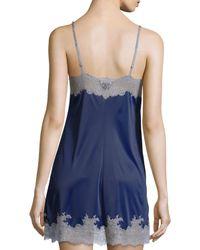 Natori - Blue Enchant Lace-trimmed Chemise - Lyst