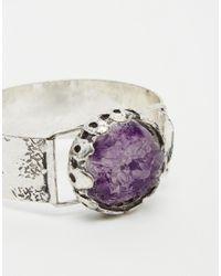 ASOS Metallic Cut Stone Cuff Bracelet