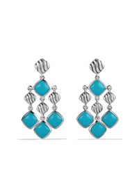 David Yurman - Blue Sculpted Cable Chandelier Earrings with Turquoise - Lyst