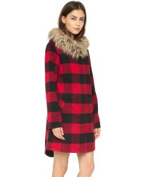 BB Dakota Black Jaslene Buffalo Plaid Coat - Red