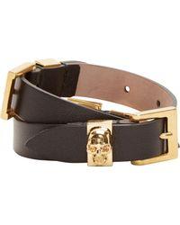 Alexander McQueen Black Leather Double_wrap Bracelet