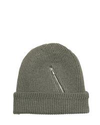 Golden Goose Deluxe Brand Green Zip Pocket On Wool Knit Beanie Hat for men