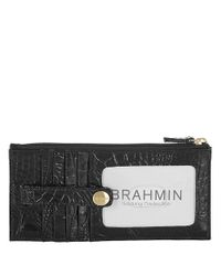 Brahmin | Black Melbourne Leather Credit Card Wallet | Lyst