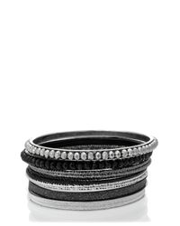 Oasis - Black Diamond Dust And Facet Bangle Pack - Lyst