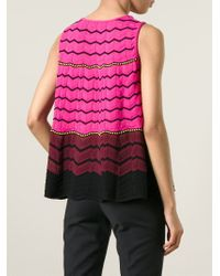 M Missoni - Pink Zig Zag Knit Tank Top - Lyst