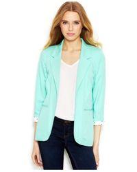 Kensie | Green Printed Lining Blazer | Lyst