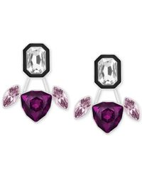 Swarovski | Swarovksi Silver-tone Purple And Black Earrings And Earring Jackets | Lyst