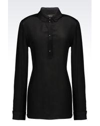 Emporio Armani | Black Shirt In Silk Crêpe | Lyst