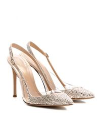 Gianvito Rossi | Natural Crystal-Embellished Satin And Transparent Pumps | Lyst