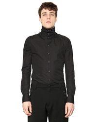 Tom Rebl Black Cotton Poplin High Collar Shirt for men
