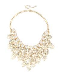 Fragments | Metallic Crystal Leaf Bib Necklace | Lyst