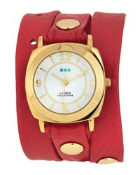 La Mer Collections - Red Odyssey Leather Wrap Watch - Lyst