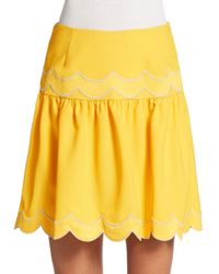 RED Valentino | Yellow Scallop-Detail Skirt | Lyst