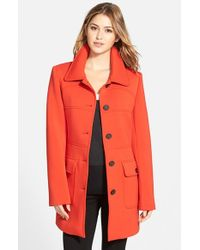 Vince Camuto Red Single Breasted Ponte Knit Coat