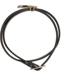 McQ - Metallic Silver Leather Wrap Swallow Mini Bracelet - Lyst