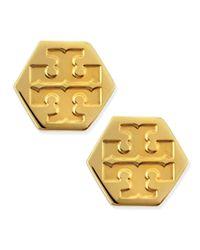 Tory Burch | Metallic Hexagon Logo Stud Earrings | Lyst
