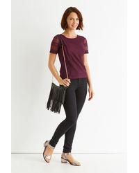 Oasis Purple Angled Pom Pom T-shirt