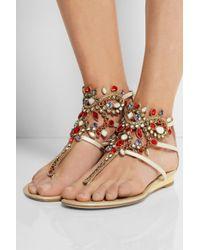 Rene Caovilla Metallic 10mm Karung & Swarovski Sandals