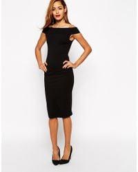 ASOS | Black Bardot Bodycon Midi Dress | Lyst